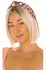 Lele Sadoughi Silk Leopard Knotted Headband in Pink Leopard