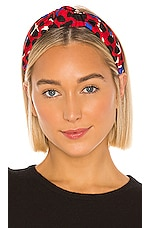 Lele Sadoughi Silk Knotted Headband in Red Leopard