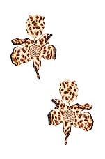 Lele Sadoughi Small Crystal Lily Earring in Leopard