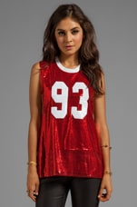 L'AMERICA Batter Up Sequin Tank in Red/Ivory