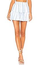LoveShackFancy Ruffle Mini Skirt in Blue & White
