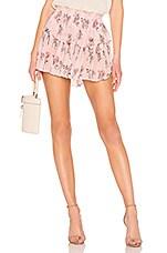 LoveShackFancy Ruffle Silk Mini Skirt in Pink Canopy