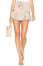 LoveShackFancy Ruffle Silk Mini Skirt in Monticello