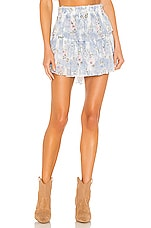 LoveShackFancy Ruffle Mini Skirt in Water Petals