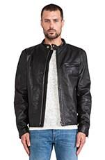 Leather Biker Jacket in Black