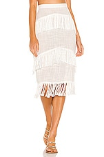 LOVEWAVE The Fringe Skirt in Ivory