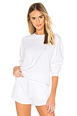 les girls les boys Terry Crew Pullover in White
