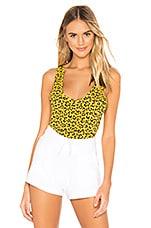 les girls les boys Print Tank in Yellow Leopard
