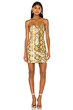 LIKELY Gold Python Hayley Dress in Gold