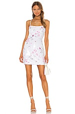 LIKELY Floral Sequin Reese Dress in White Multi