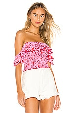 LIKELY Leila Athena Top in Red & Pink Multi