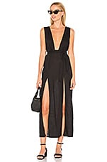 LIONESS Esperanza Plunge Maxi Dress in Black