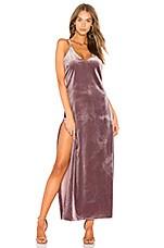 LIONESS Don't Be Jealous Velvet Maxi Dress in Dusty Cedar