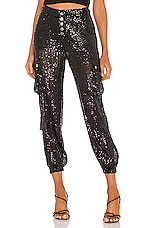 LIONESS Cypress Pant in Black Sequin