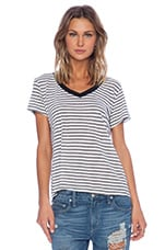 Lisa Kai Crew Tee in Grey & White Stripe