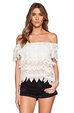 Lucy Tiered Lace Top en Ivoire