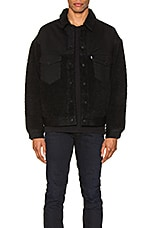 LEVI'S: Made & Crafted Oversized Sherpa Trucker Jacket in Ivan Black