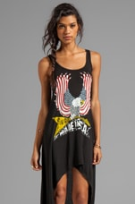 Lauren Moshi Daria Color USA Eagle Asymmetrical Dress in Black