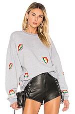 Lauren Moshi Babbs Oversized Boyfriend Pullover in Heather Grey