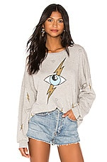 Lauren Moshi Sierra Oversized Sweatshirt in Heather Grey