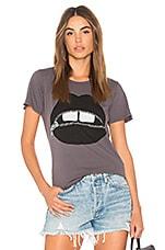 Lauren Moshi Croft Vintage Zipper Mouth Tee in Lava Grey