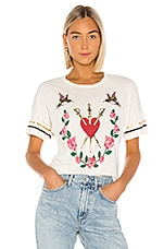 Lauren Moshi Mackenzie Drop Shoulder Tee in Vintage White