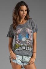 Lauren Moshi Debbie Color USA Eagle Pocket Tee in Heather Grey