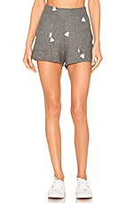 LNA Brushed Hearts Short in Grey with Pink Hearts