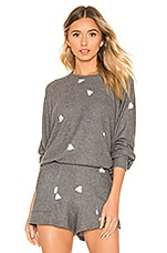 LNA Brushed Hearts Raglan Sweater in Grey with Pink Hearts