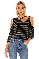 LNA Leon Pullover in Black & Gold Silver Stripe