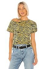 LNA Zebra Surf Tee in Yellow Zebra