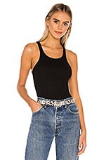 LNA Ribbed Skinny Racer Tank in Black