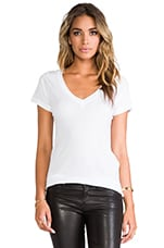 Deep V Tee in White