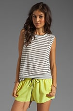 Ruby Tank en White/Black Stripe