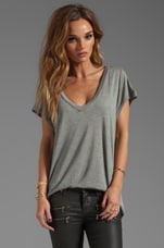 Classic Cap Sleeve Deep V in Heather Grey