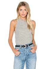 Twiggy Tank in Beige & Black Stripe