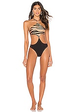 LNA Mexique Monokini One Piece in Tiger & Black Rib