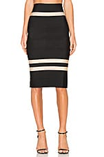 Clara Fitted Midi Skirt in Bege & Preto