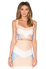 Bandage Tri Color Crop Top in Nude & Light Blue & Off White