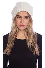 Carly Beanie with Rabbit Fur Pompom in Cream