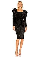 lORANE Velvet Midi Dress in Black