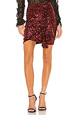 lORANE Sequin Mini Skirt in Red