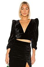 lORANE Velvet Cropped Top in Black