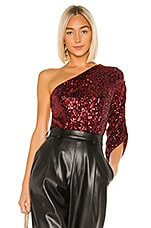 lORANE Sequin One Shoulder Top in Red