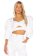 IORANE Supper Cotton Cropped Top in Off White