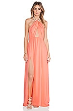 Isla Twist Halter Maxi Dress in Coral