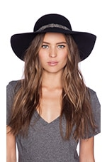 Biarritz Black & White Feather Trim Hat in Black