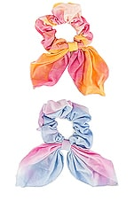 Lovers + Friends Tropez Scrunchie in Blue & Pink