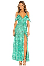 Lovers + Friends Mandy Wrap Maxi in Parakeet Ditsy