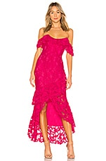 Lovers + Friends Rosewater Lace Gown in Hot Pink